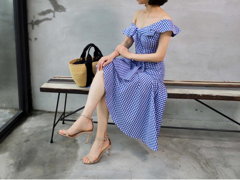 波浪領格子洋裝