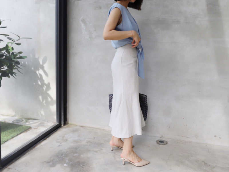 麻料魚尾裙