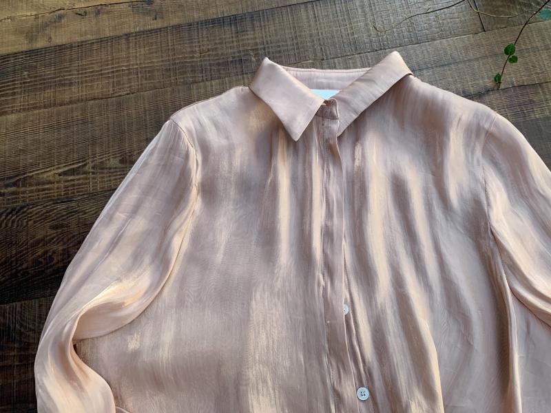 和煦光粉橘金色襯衫