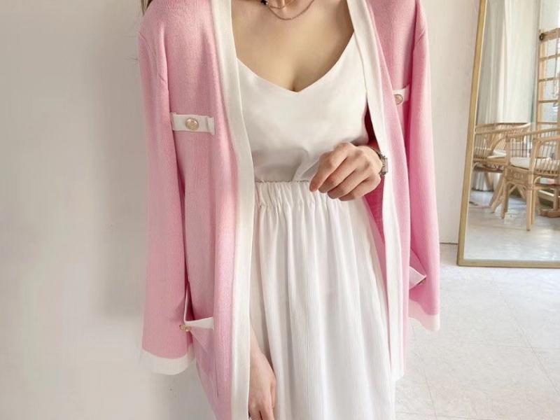 粉色小香針織外套